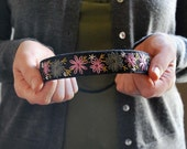 Whispered in the Woods - Thin Hand Embroidered Black Felt Headband with Embroidery in Pink, Pear and Grey