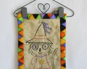 Monster Mash Cute Witch Hanging Mini-Quilt