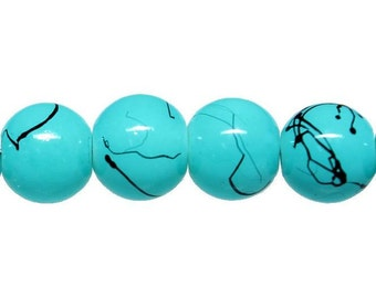 20 Turquoise Glass Beads with Black Veins 8mm - BD178