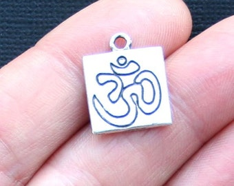 8 OM Charms Antique  Silver Tone 2 Sided - SC3172