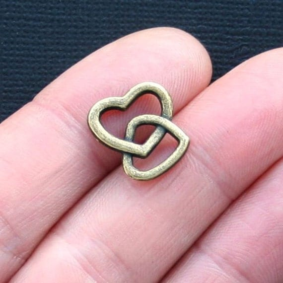 8 Double Heart Charms Antique Bronze Tone 2 Sided Bc897