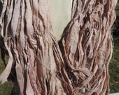 New Arrival Recycled Sari Silk Ribbon Champagne And Pale Pink Color Thick And Thin Lightweight  Approximately 60 Yards