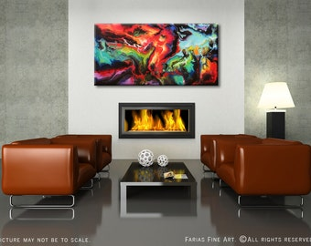 24x48 ORIGINAL Abstract Painting Modern Colorful Acrylic Fine Art by Federico Farias