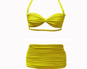 Ruched Strappy Bandeau and Hi-Waist Set