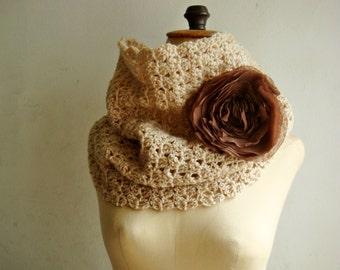 PATTERN Crochet Cowl with Chiffon Flower Pin, 246