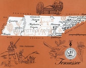 Tennessee Map Vintage - High Res DIGITAL IMAGE 1960s Picture Map - Fun Retro Colors - image transfer for cards totes souvenir prints