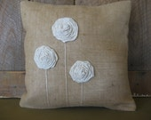 Natural Burlap Pillow with White on cream Fabric Rolled Flowers