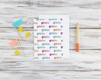 Blank Spanish Thank You Card - Hand-Illustrated Gracias Card