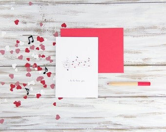 Valentine's Day Love Card - Hand Illustrated Musical Love Notes