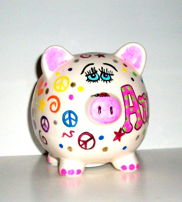 Jumbo piggy bank hand painted ceramic piggy bank large for How to paint a ceramic piggy bank