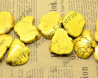 28-38mm 6 Pieces Dyed Yellow Turquoise nugget gemstone beads, Turquoise Nugget Random Gemstone Bead