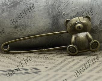 5 pcs Antique Brass filigree Luster Little Bear Brooches ,Little Bear Brooch