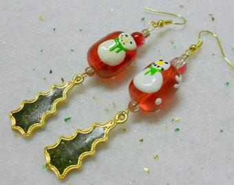 Christmas Snowman Tree Earrings, Vintage Glitter Christmas Tree Earrings