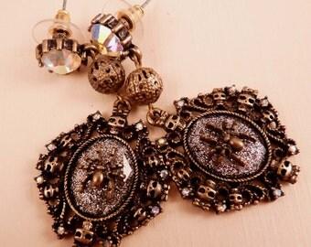 Skull Earrings Halloween Earrings Brass Earrings Spider Earrings Spider Jewelry Skull Jewelry Brass Jewelry Beaded Jewelry Beaded Earrings