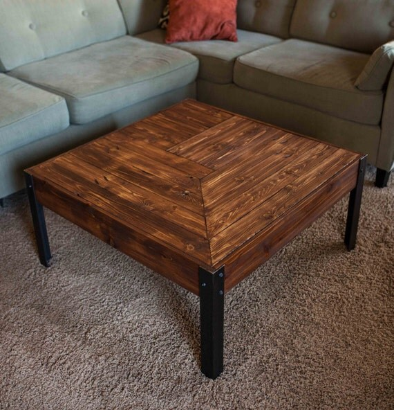 Etsy Wood Oval Coffee Table: Pallet Wood And Metal Leg Coffee Table