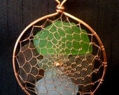 Copper Viking Weave Beach Glass Sea Glass Suncatcher Ornament