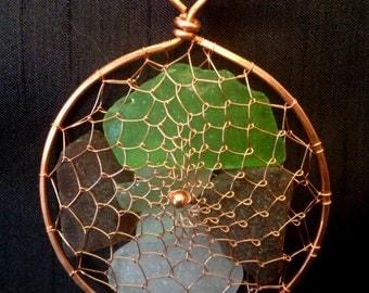 Copper Viking Weave Beach Glass Sea Glass Suncatcher Ornament