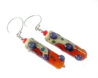 Lampwork Earrings, Ivory Orange Handmade Earrings, Glass Bead Earrings, Lampwork Jewelry, Beadwork Earrings, Beaded Earrings