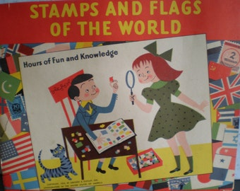 Vintage Mid Century Soft Cover Book - Stamps & Flags Of The World