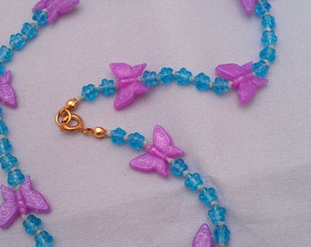 Fuchscia and Blue Butterfly and Flower Necklace