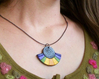 Aztec Rainbow colorful charm fairy necklace polymer clay pendant dark silver purple violet olive green sunny yellow orange pendant
