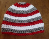 Red, Gray and White Crocheted Baby Beanie