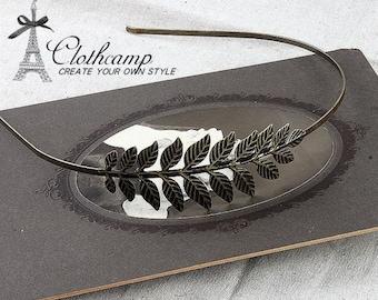 2Pcs  Antique Bronze Plated Filigree Leaves HeadBand Setting NICKEL FREE (HBSB-13)