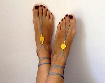 Barefoot Sandals, wedding, yellow,blue Bikini , Women , Beach , Bridal Sandals , Bridal Jewelry ,shoes