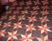 Reserved for Cindy -1970's Quilt Handmade Primitive Rustic Hand Quilted Stitched Colorful Design Vintage Bedspread Comforter