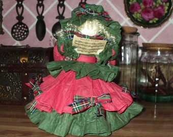 Handmade Hand Crafted Doll, Paper Country Victorian Shabby Christmas Caroler Vintage