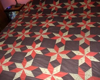 1970's Quilt Handmade Primitive Rustic Hand Quilted Stitched Colorful Design Vintage Bedspread Comforter