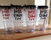 Best Dad Ever Grandpa Grandad Popa Vinyl Personalized tervis style tumbler 24 oz insulated BPA free double walled Monogrammed for you