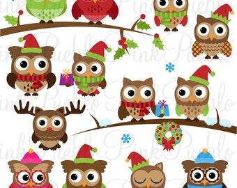 Cute Christmas Owl Clipart Clip Art, Winter Owls Clip Art Clipart Vectors - Commercial and Personal