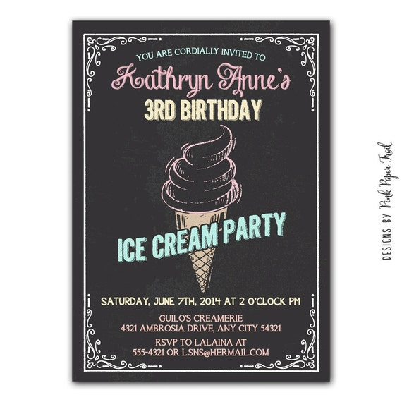 items similar to chalkboard ice cream party invitation