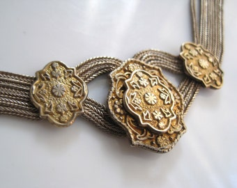 Vintage Byzantine Style Anatoli Necklace - Multi Chain - Gold Gilt Sterling Silver