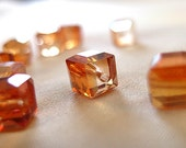 HALF PRICE 8mm Unique Half Orange Faceted Crystal Cube Beads, 8mm x 8mm, 15 beads