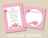 "TEA Party Invitation & Thank You Card - Printable Birthday Tea Party Design - Girl Tea Pot Party - 5x7"""