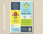 Robot Invitation - Printable Baby Shower Invitation  - Robot Baby Shower - Nuts and Bolts - Robot Birthday Party Invitation - 5x7""