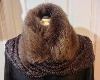 Knitted Scarf with Genuine Dyed Caramel-Coloured Fox Fur