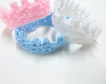 Newborn Baby Crown, Photo Prop, Princess or Prince, Baby Shower, Crochet Tiara Crown, White Pink Blue