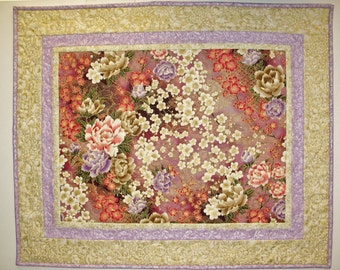 Floral Table Topper, Wall Hanging, quilted, handmade, elegant, fabric  RJR, Kaufman, M Miller