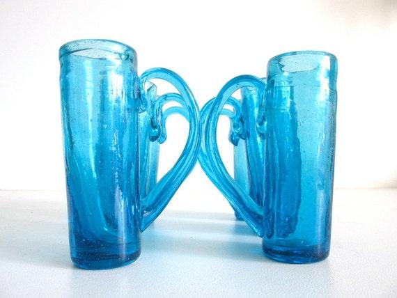Handblown Glass Liquor Glasses - Blue/Set of Six