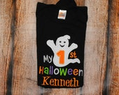 My First Halloween With Ghost Applique Embroidered Personalized Shirt or Bodysuit