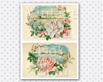 Victorian Roses and Seaside Sailboats Collage Clipart Graphics Printable Digital Instant Download