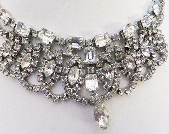 Vintage jewelry necklace Gale designer silver tone clear rhinestone and crystal Juliana style rhinestone  necklace 60s