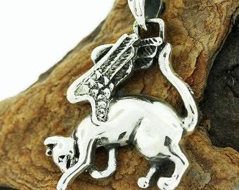 Egyptian Cat Goddess Bastet Angel cat  Silver Pendant