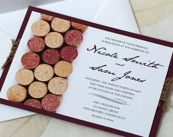 wine cork wedding invitation vineyard wedding invitation wine wedding - Winery Wedding Invitations