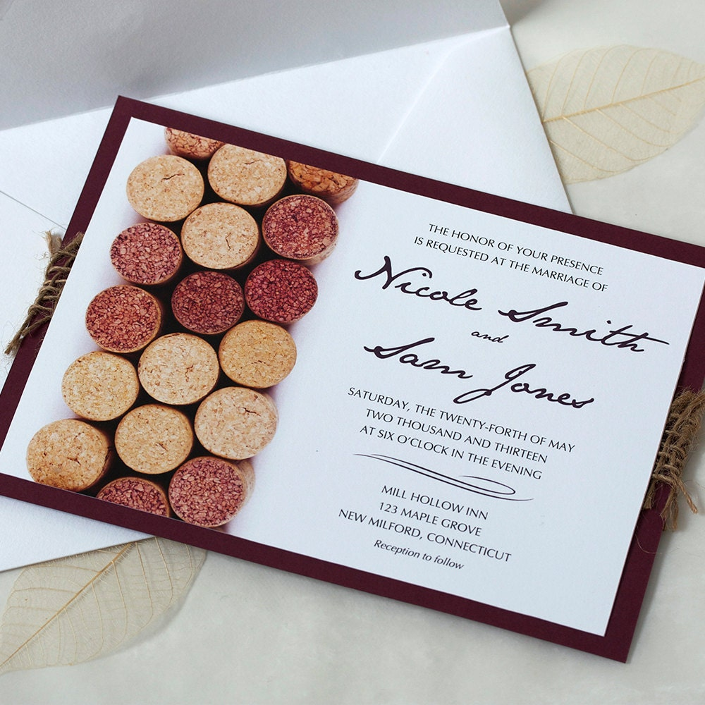Wine Wedding: Wine Cork Wedding Invitation Vineyard Wedding Invitation
