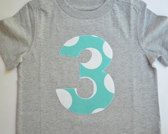 Size 3T Boys 3rd Birthday Shirt Gray Aqua and White Number 3 Applique Tshirt Ready to Ship Modern Dots Party Short Sleeve