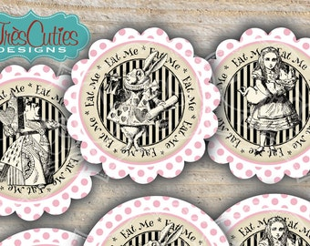 INSTANT PDF DOWNLOAD - Alice in Wonderland Soft Pink Polka Dots for Girl - CupCake Toppers or Tags - Birthday and Baby Shower - Printable